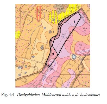Deelgebieden Middenraai a.d.h.v. de bodemkaart